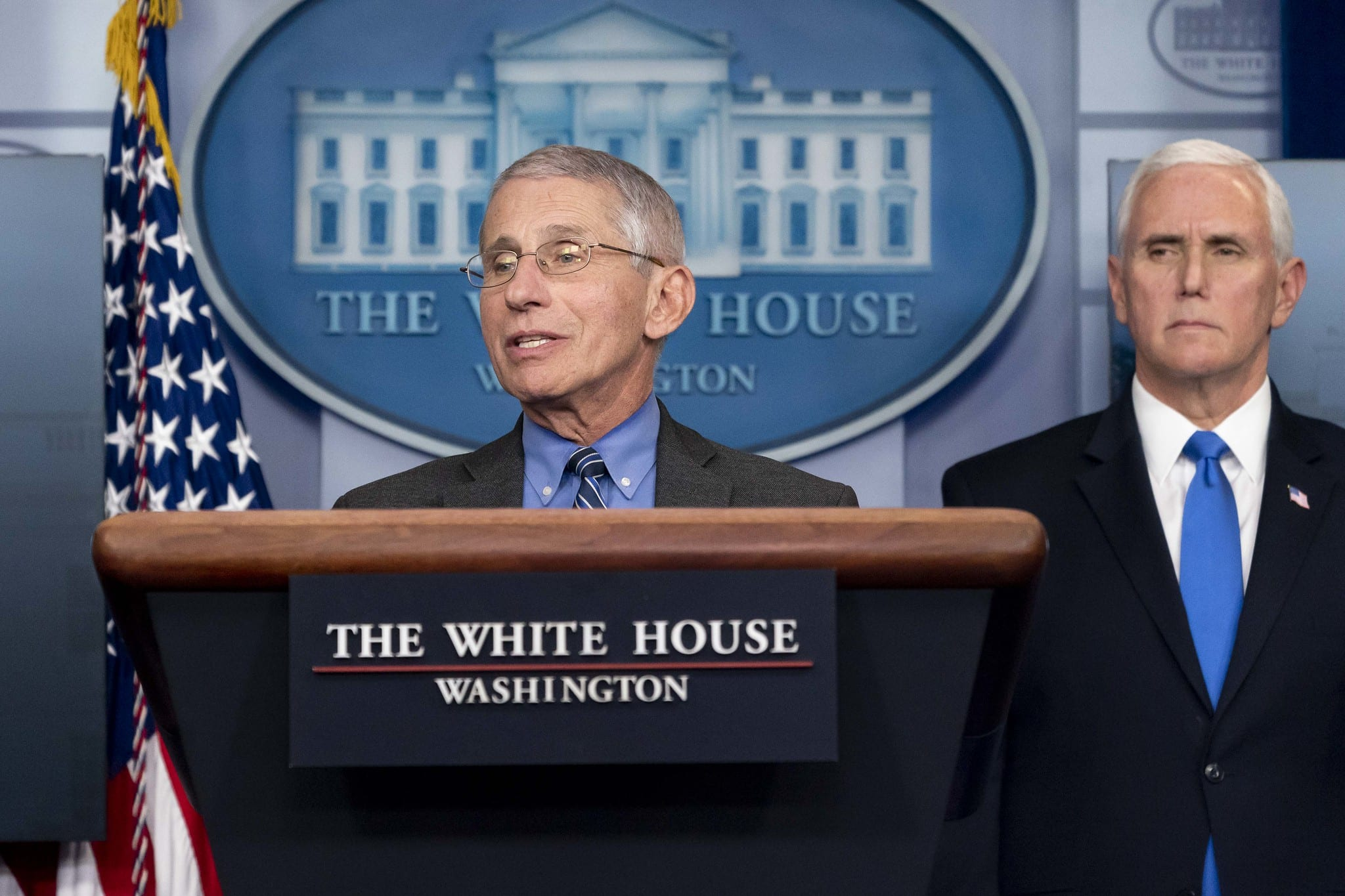 Dr. Anthony Fauci at a coronavirus briefing, April 6, 2020 (D. Myles Cullen/Official White House Photo)