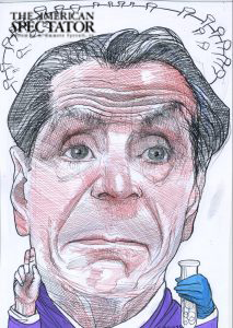 Andrew Cuomo caricature by John Springs for The American Spectator