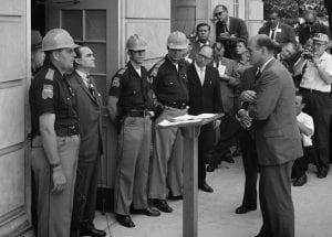 George Wallace and Nicholas Katzenbach at University of Alabama (Wikimedia Commons) spectator.org