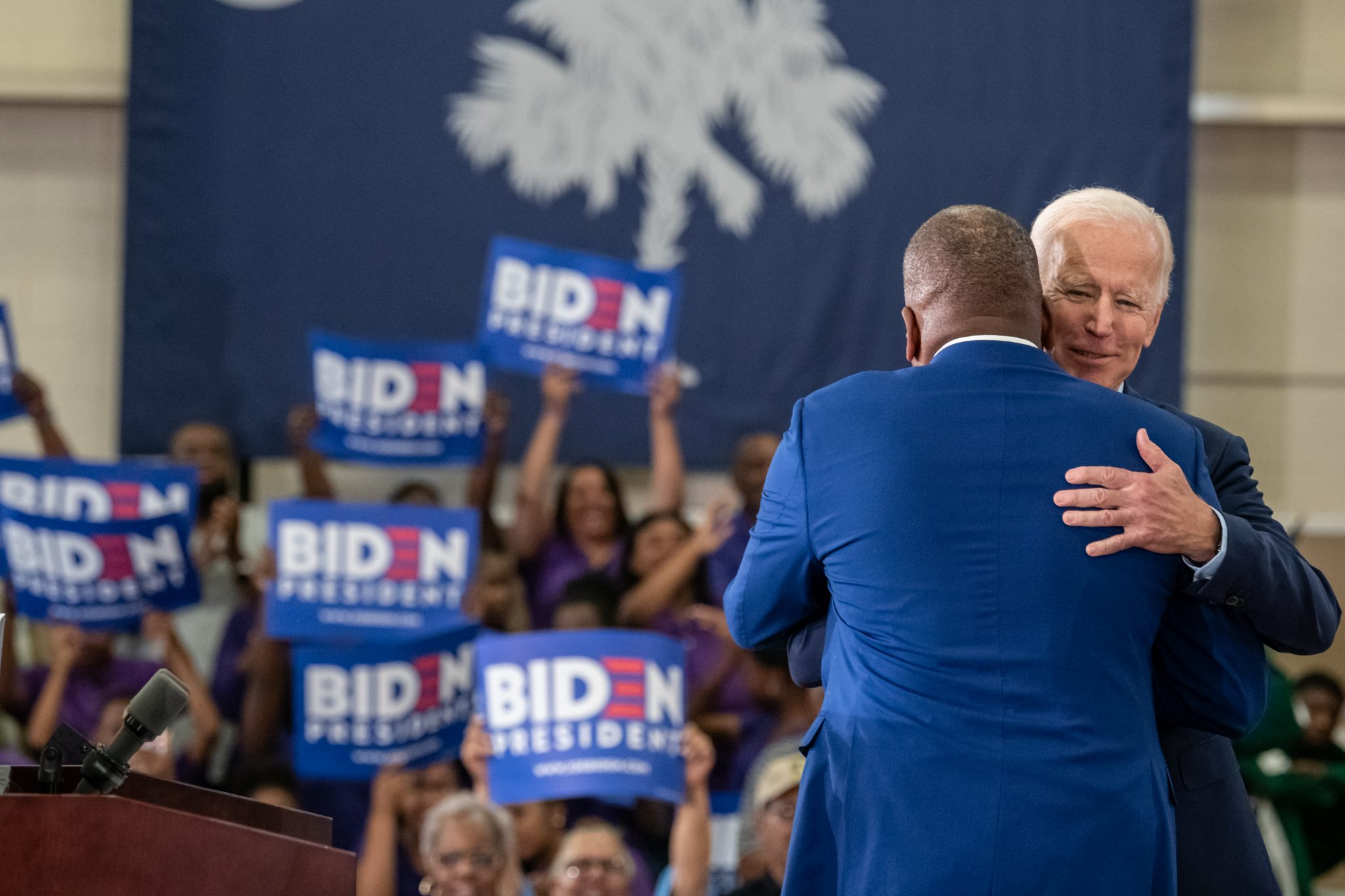 Joe Biden in Columbia, SC, on May 4, 2019, illustrating piece on Black and Hispanic vote (Crush Rush/Shutterstock.com) spectator.org