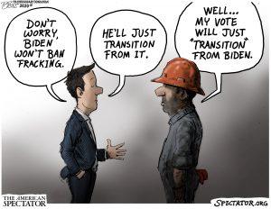 """Oil Transition,"" editorial cartoon by Patrick Cross forThe American Spectator, Oct. 23, 2020 (spectator.org)"
