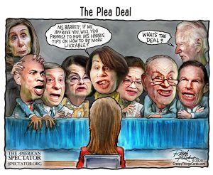The Plea Deal, Ralph Kickson editorial cartoon for The American Spectator, Oct. 16, 2020, spectator.org