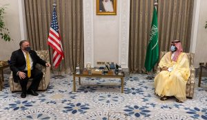 Secretary of State Mike Pompeo meets with Crown Prince Mohammed bin Salman in Neom, Saudi Arabia, November 22, 2020, illustrating piece on Middle East peace negotiations (State Department Photo by Ron Przysucha/Wikimedia Commons) spectator.org