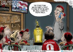 """Election Ballgame,"" editorial cartoon by Yogi Love forThe American Spectator, Nov. 29, 2020, spectator.org"