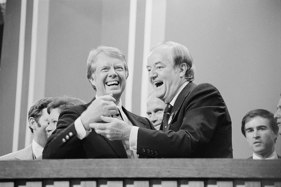 Hubert Humphrey and Jimmy Carter in 1976, illustrating piece on liberal Democrat party (Wikimedia Commons) spectator.org