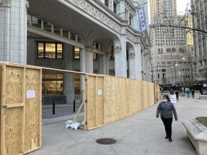 Chicago businesses board up (Nic Rowan) spectator.org