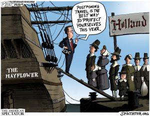 """Postponing Travel,"" editorial cartoon by Patrick Cross forThe American Spectator, Nov. 23, 2020 (spectator.org)"