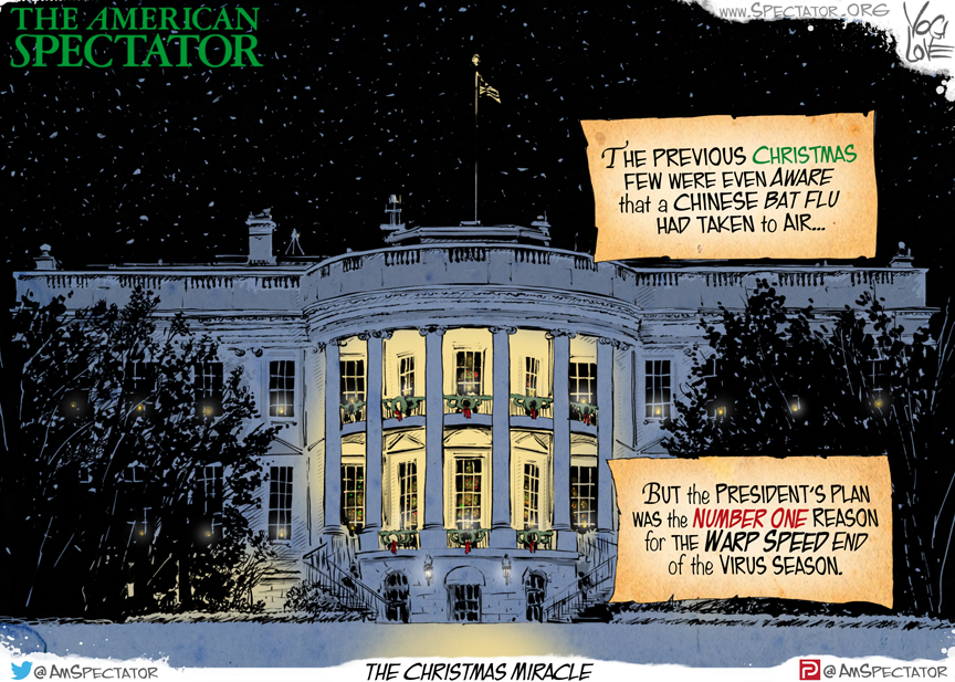"""Christmas White House,"" editorial cartoon by Yogi Love for The American Spectator, published December 22, 2020_spectator.org"