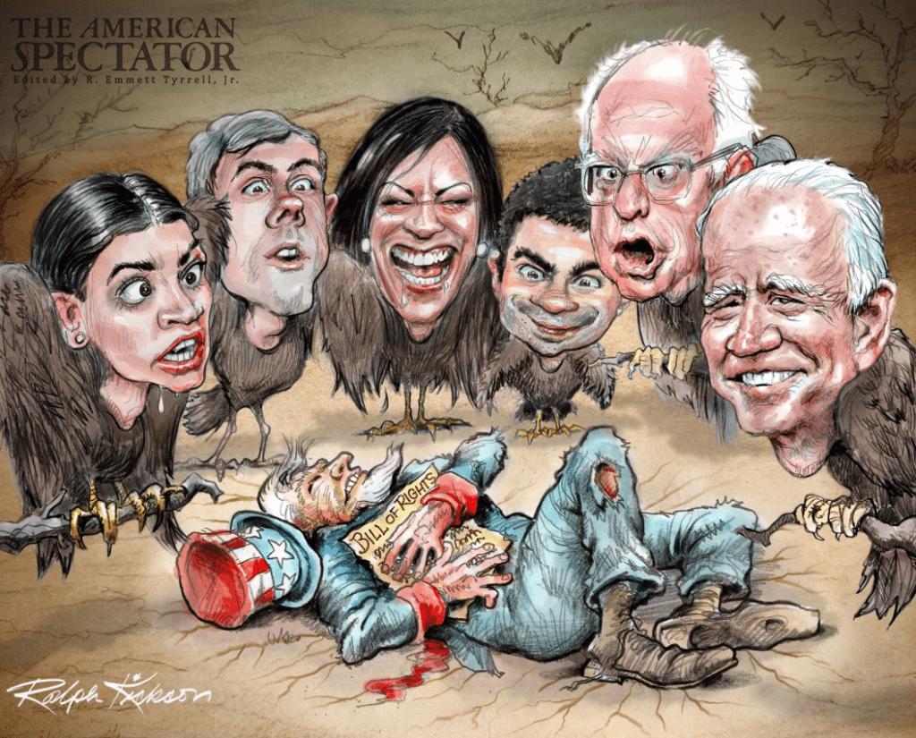 Ralph Kickson illustration for article on Biden and California, spectator.org