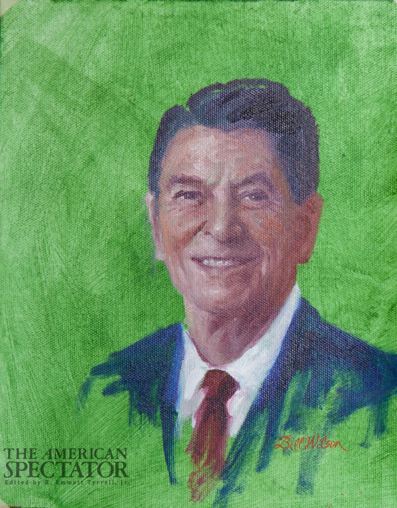 Remembering the Gipper, painting of Reagan, Bill Wilson studio, 2020, spectator.org