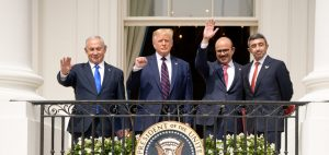 Benjamin Netanyahu, Donald Trump, Abdullatif bin Rashid Al Zayani, and Abdullah bin Zayed Al Nahyan attend the Abraham Accords ceremony in the White House, September 15, 2020, illustrating piece on Middle East peace (noamgalai/Shutterstock.com) spectator.org