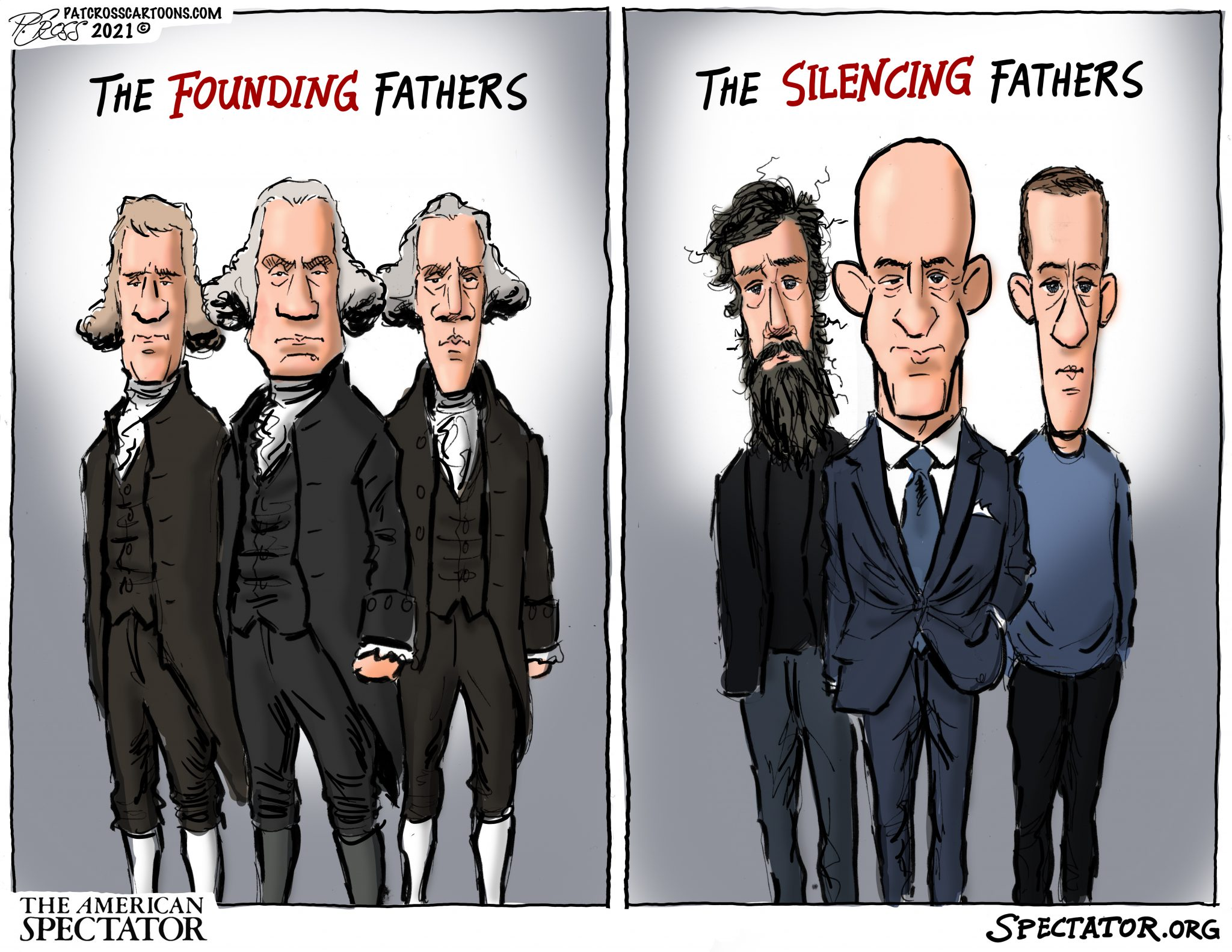 """The Silencing Fathers,"" editorial cartoon by Patrick Cross for The American Spectator, spectator.org, published January 15, 2021."
