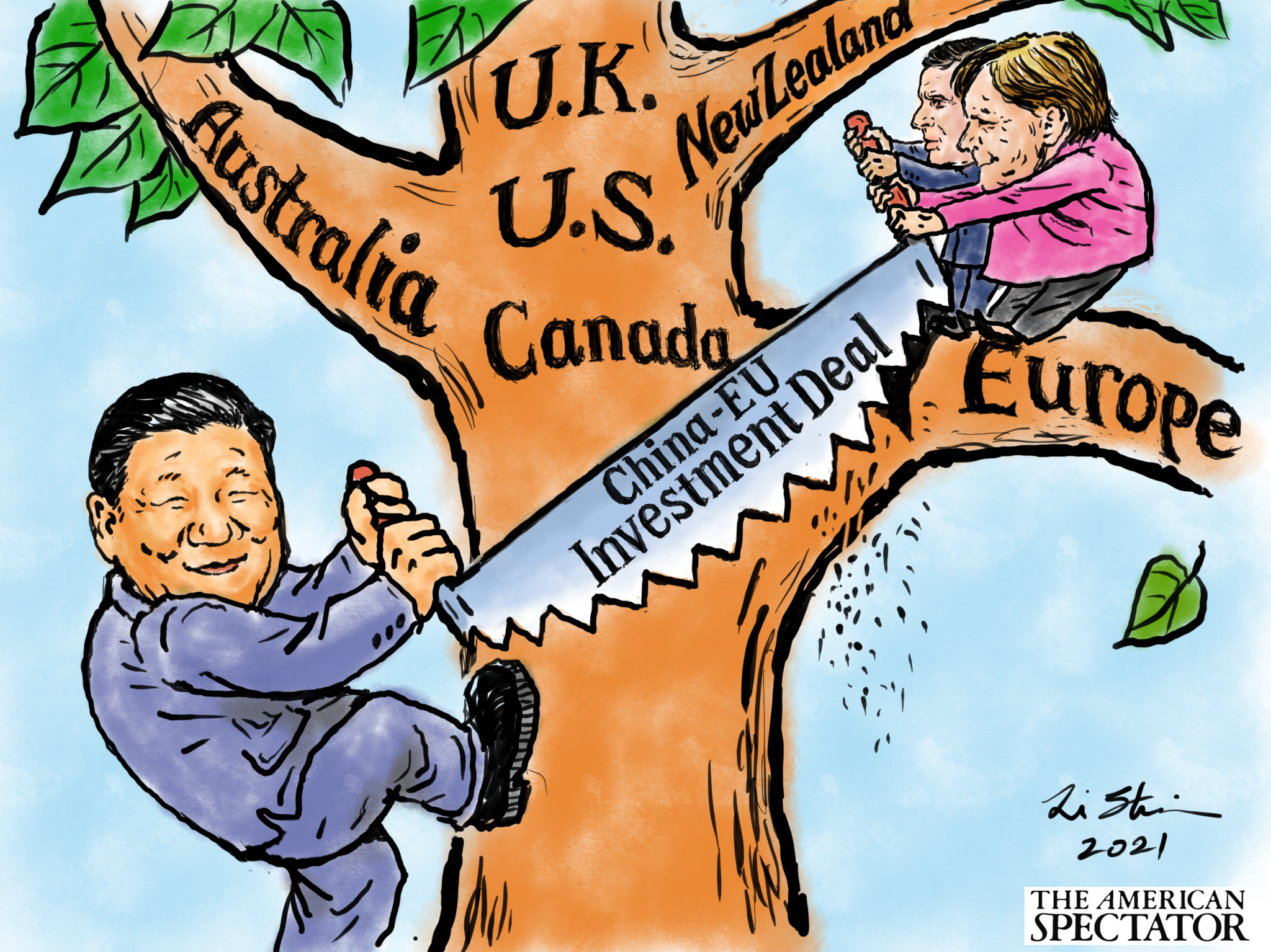 """China's Investment Strategy,"" editorial cartoon by Shaomin Li for The American Spectator, January 2, 2021_spectator.org"