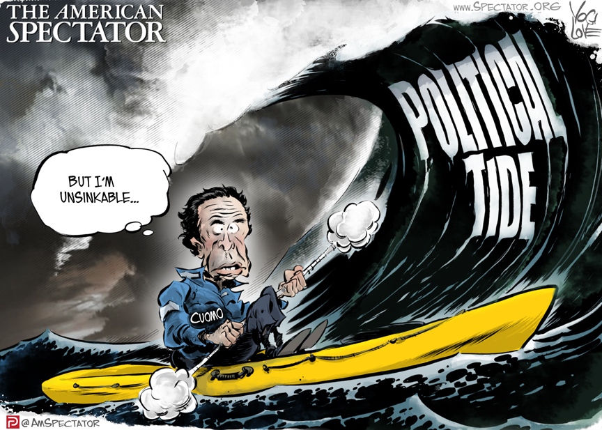 """""""Cuomo and the Political Tide,"""" editorial cartoon by Yogi Love forThe American Spectator, spectator.org, February 25, 2021"""