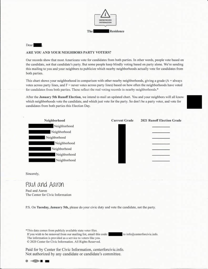 """Screenshot of a suspicious letter from the """"Center of Civic Information"""" sent out to certain Georgian neighborhoods, cautioning citizens against voting the party line and containing local voter information. Illustrating piece on voter fraud in Georgia. (Screenshot of letter obtained by C. Murray) spectator.org"""