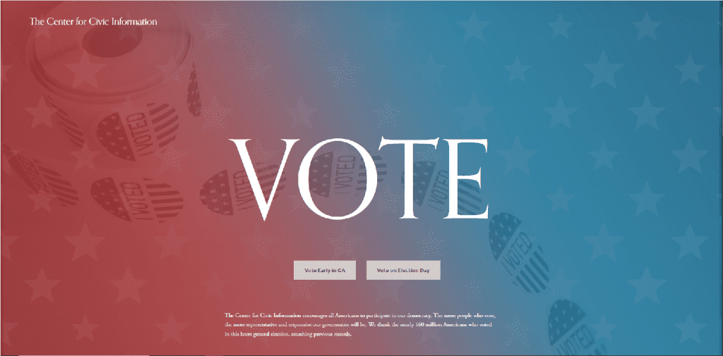 Screenshot of the Center for Civic Information's website, illustrating piece on voter intimidation in Georgia. (Screenshot of image obtained by C. Murray) spectator.org