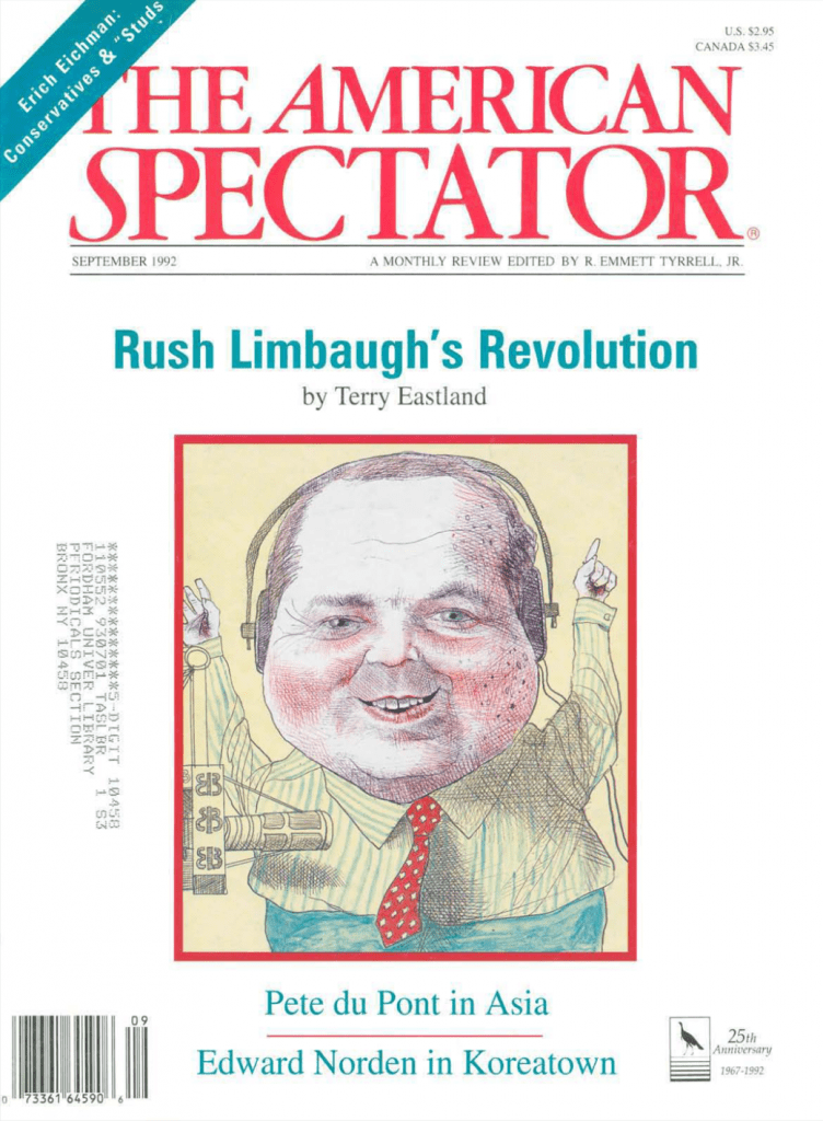 Rush Limbaugh on cover of The American Spectator, September 1992, spectator.org