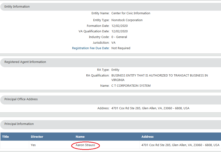 Screenshot of the Center for Civic Information's records showing the name of its director, illustrating piece on the Georgia runoff elections and potential voter intimidation (Screenshot of image obtained by C. Murray) spectator.org