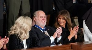 Rush Limbaugh with Melania Trump after receiving Presidential Medal of Freedom, February 4, 2020 (White House/Wikimedia Commons) spectator.org