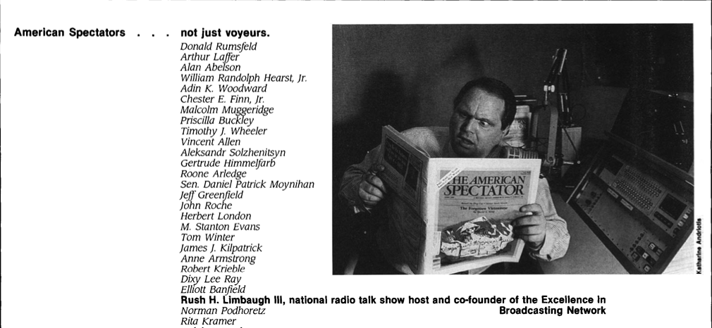 Rush Limbaugh reading The American Spectator, spectator.org