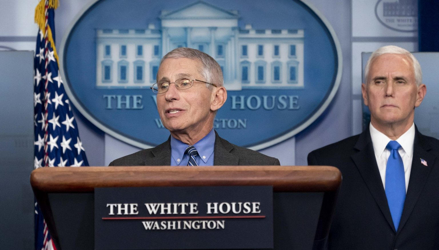 Dr. Anthony Fauci at a White House Coronavirus Task Force briefing, April 6, 2020, illustrating piece on COVID lockdowns (D. Myles Cullen/Official White House Photo) spectator.org