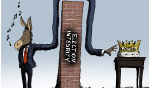 """""""The Long Arm of HR 1,"""" editorial cartoon by Patrick Cross for The American Spectator, spectator.org, March 8, 2021."""