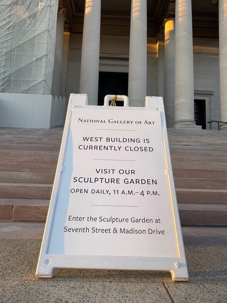 """Closed"" sign outside National Gallery of Art, Washington, D.C., March 2021 (David Keltz) spectator.org"