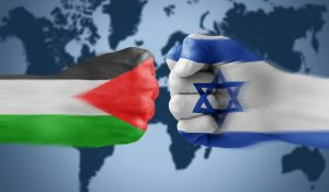 Palestine and Israel flags, illustrating piece on ICC ruling and peace process (Aquir/Shutterstock.com) spectator.org