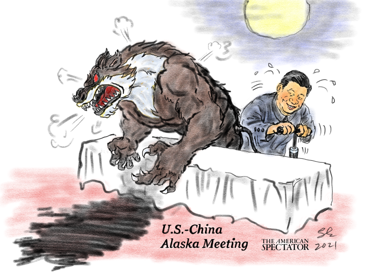 """Xi's Wolf Warrior Diplomats,"" editorial cartoon by Shaomin Li forThe American Spectator, spectator.org, March 22, 2021"
