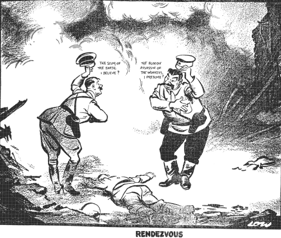 """Image of David Low's 1939 cartoon, """"Rendezvous,"""" published in the Evening Standard, criticizing Stalin and Hitler's invasion of Poland. Illustrating piece on the importance of a political sense of humor (Wikipedia) spectator.org"""