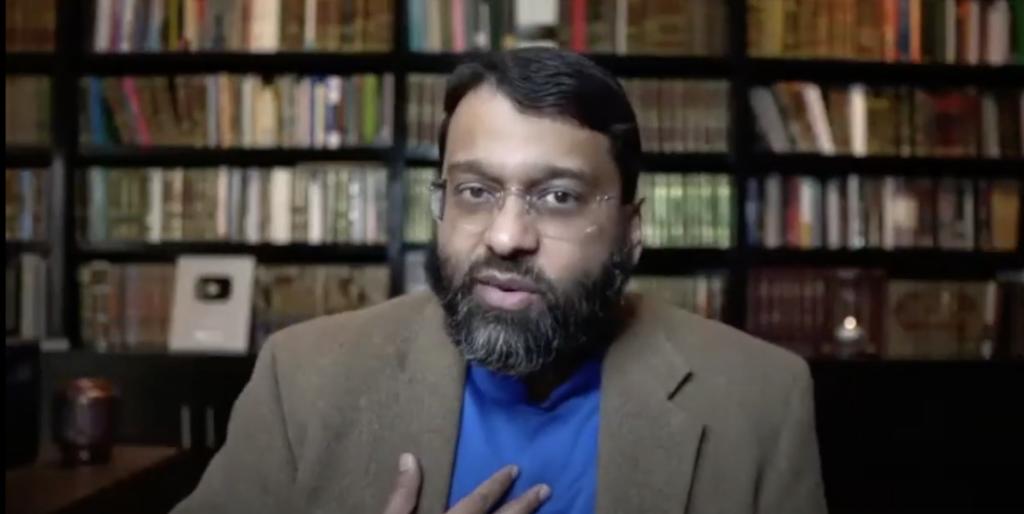 "Yasir Qadhi in ""Islam and the Question of Blasphemy"" seminar, March 11, 2021 (YouTube screenshot) spectator.org"