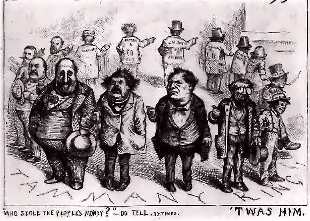 """Image of Thomas Nast's Tammany Ring cartoon published in Harper's Weekly in 1871, making fun of """"Boss"""" Tweed. Illustrating piece on the necessity of political humor (Wikimedia Commons) spectator.org"""