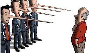 """""""Four Pinocchios,"""" editorial cartoon by Patrick Cross forThe American Spectator, spectator.org, May 26, 2021."""