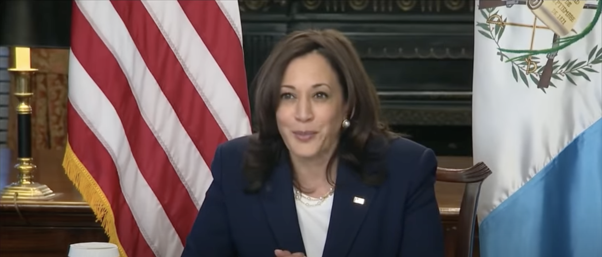 Vice President Kamala Harris in virtual meeting with president of Guatemala, April 27, 2021 (YouTube screenshot) spectator.org