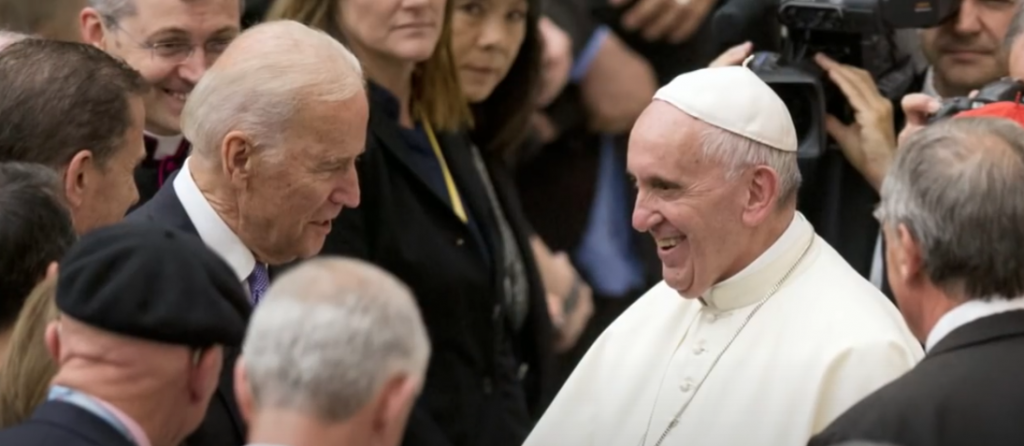 Screenshot of then-Vice President Biden with Pope Francis at the Vatican, illustrating piece on denying pro-abortion Catholics communion (YouTube screenshot) spectator.org