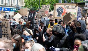 Pro-Palestine and Black Lives Matter signs at protest, Manchester, UK, June 6, 2020 (John B Hewitt/Shutterstock.com) spectator.org