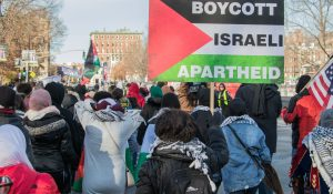 Anti-Israel protesters in Boston, Massachusetts, December 17, 2018, illustrating piece about Nazism claims against Israel (KelseyJ/Shutterstock.com) spectator.org
