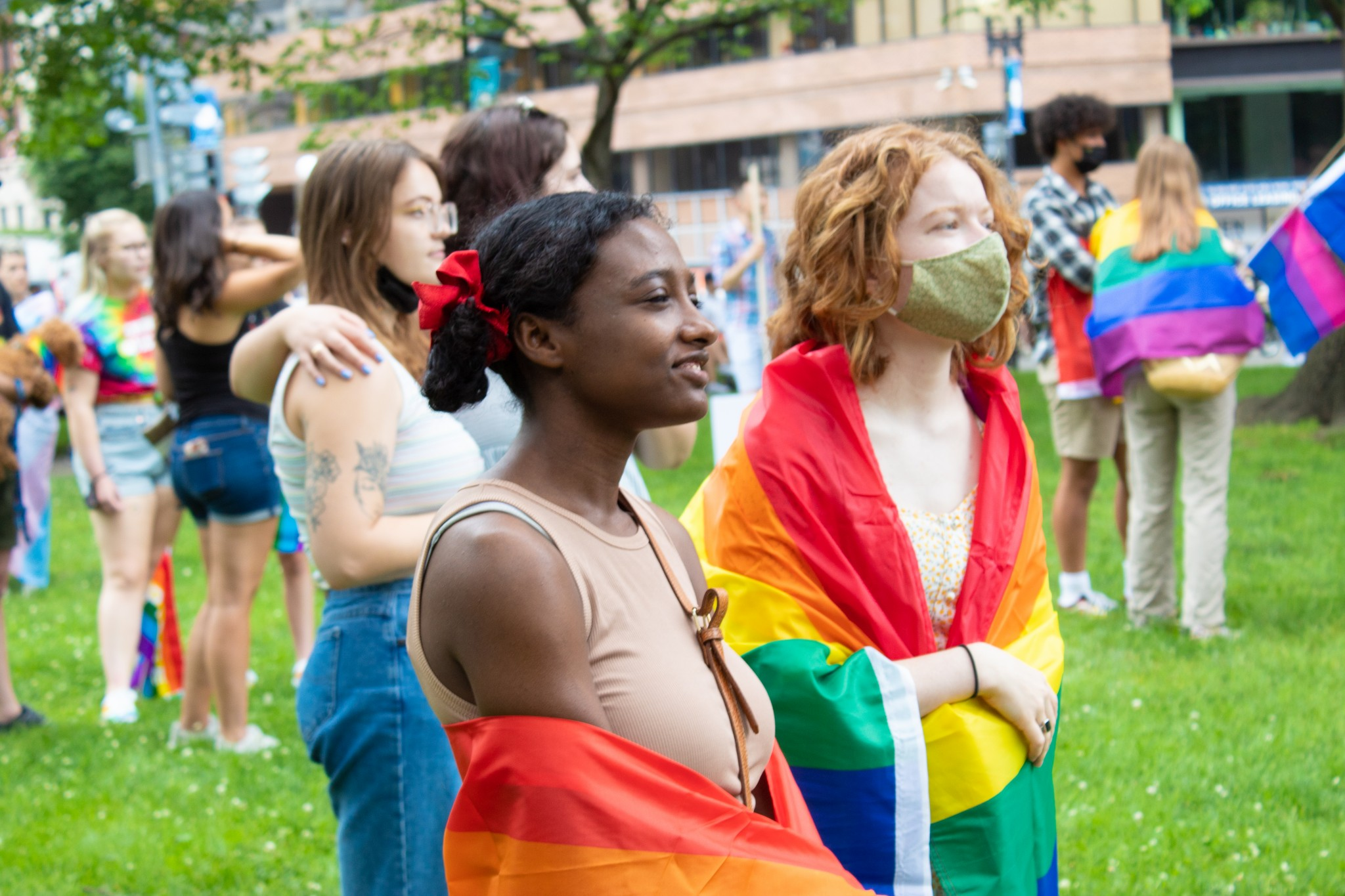 Children listen to speakers at Capital Pride's Walk & Rally, June 12, 2021 (The American Spectator)