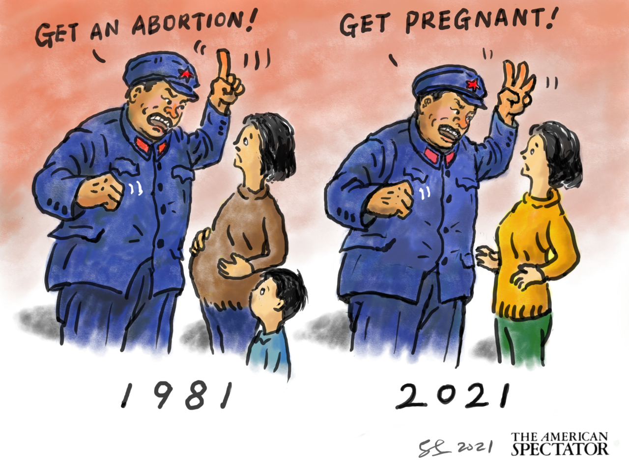 """""""China's Birth-Rate Bosses,"""" editorial cartoon by Shaomin Li forThe American Spectator, June 4, 2021. spectator.org"""