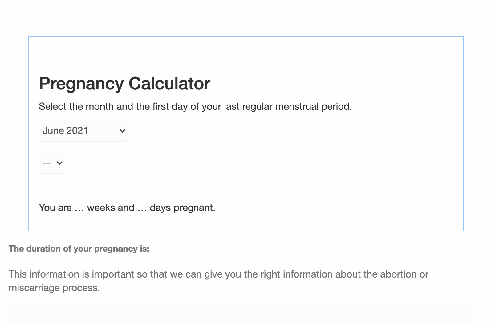The form women are asked to fill out on Aid Access' website to determine how many weeks pregnant they are. Women who receive a medication abortion in the United States legally usually receive an ultrasound. (Aid Access/Screenshot)