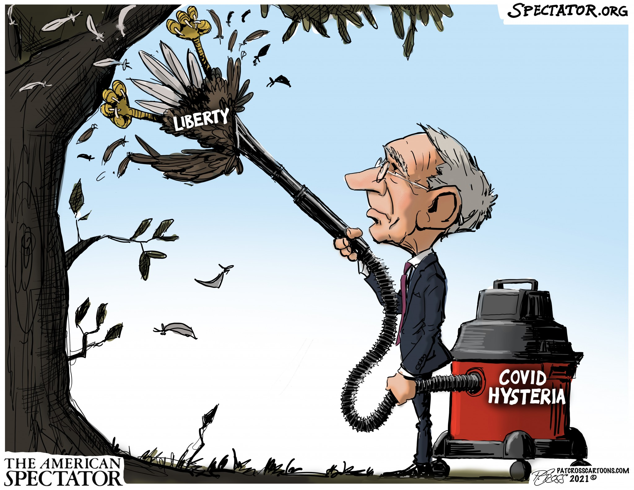 """""""The COVID Hysteria Vacuum,"""" editorial cartoon by Patrick Cross for The American Spectator, spectator.org, July 26, 2021."""