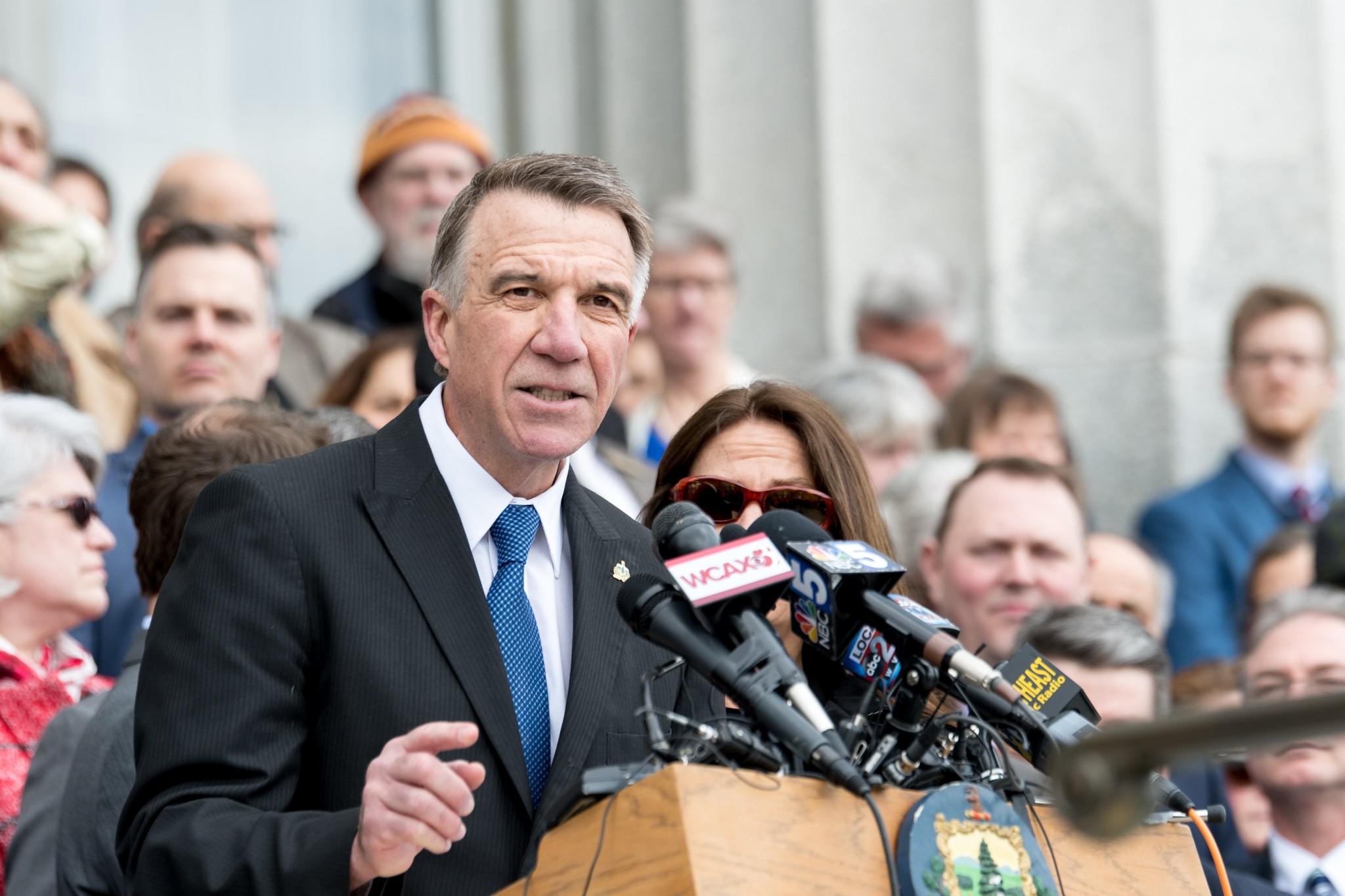 Vermont Gov. Phil Scott speaks at a rally on April 11, 2018. (Shutterstock/Bob LoCicero) spectator.org