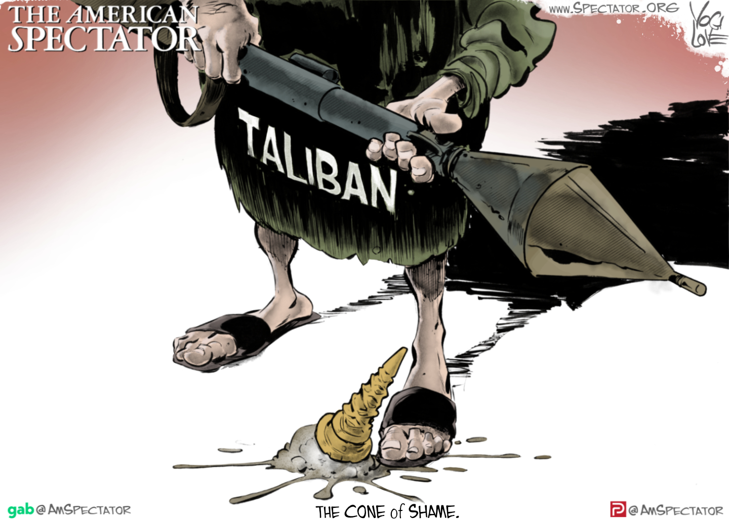 """""""The Taliban Cone of Shame,"""" editorial cartoon by Yogi LoveforThe American Spectator, August 16, 2021."""