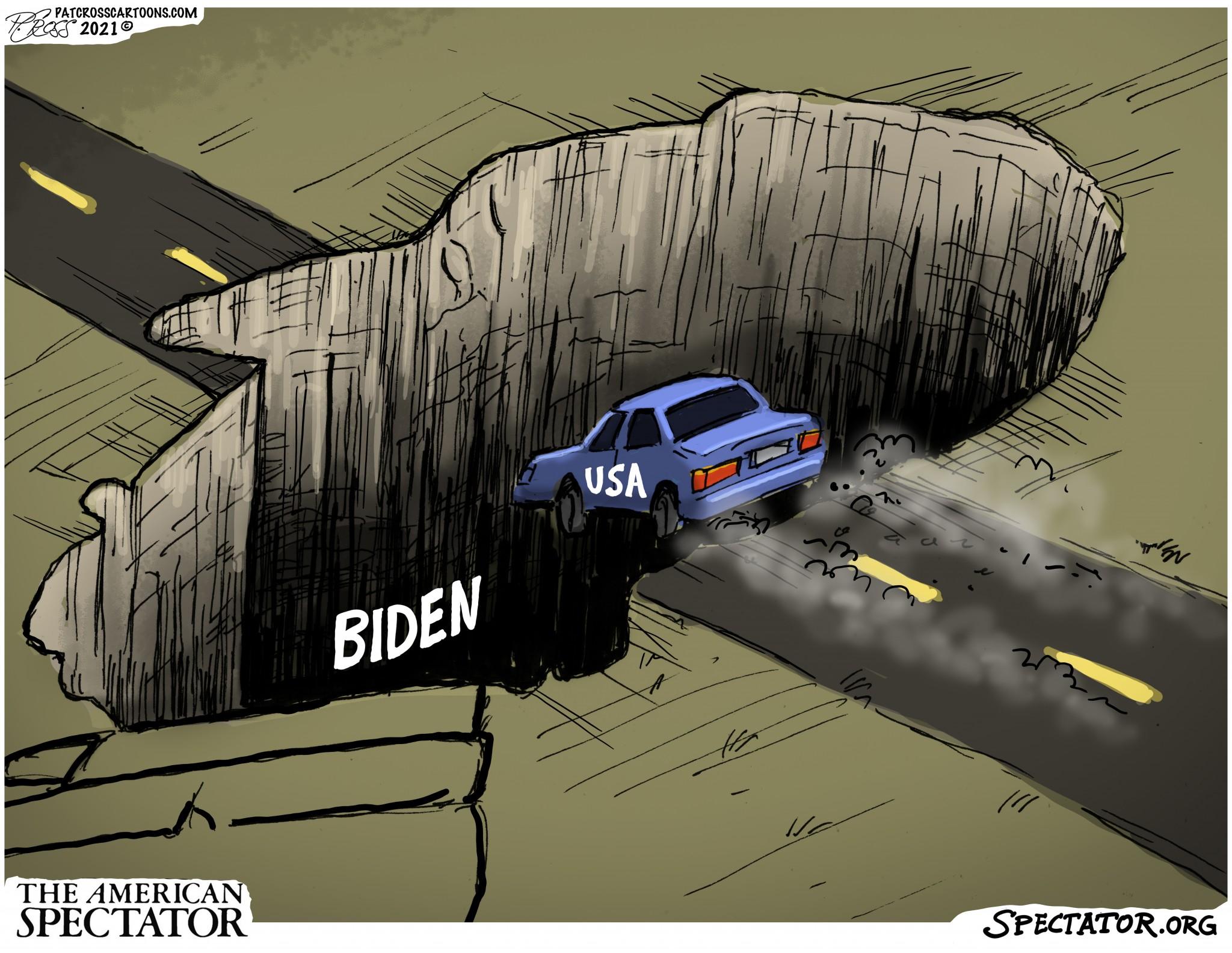 """Biden Pit,"" editorial cartoon by Patrick CrossforThe American Spectator, August 23, 2021."